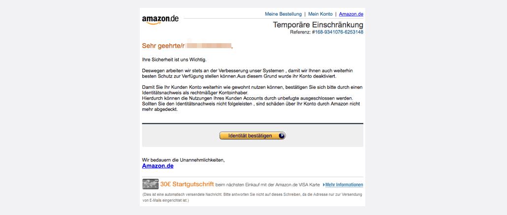 2017-08-30 Amazon Spam Kunden Konto Temporär eingeschränkt
