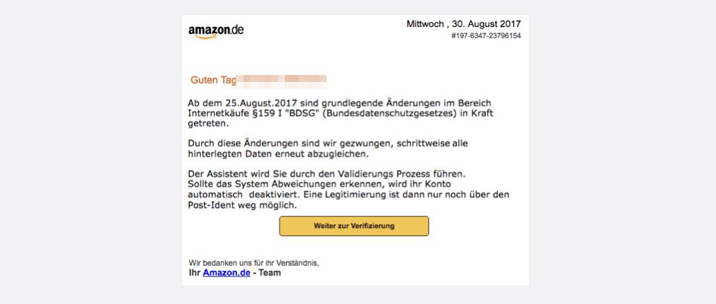2017-08-30 Amazon Spam Nachricht von ihrem Kundenservice