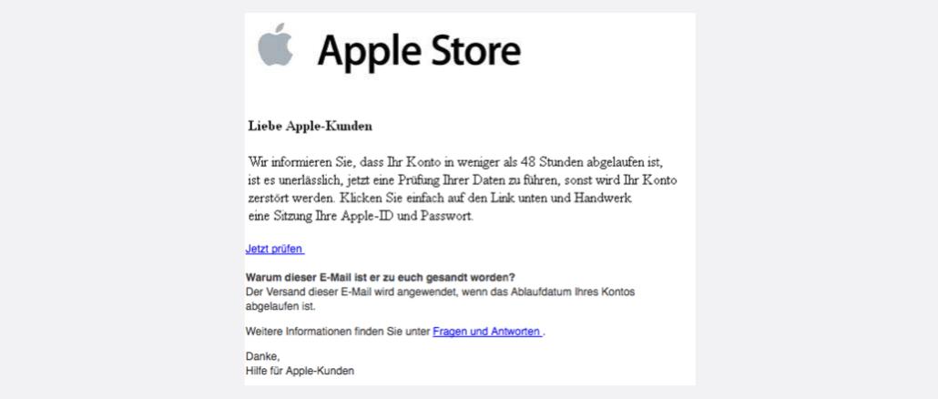 2017-08-30 Apple Spam Ihr Apple-Konto läuft in 48 Stunden