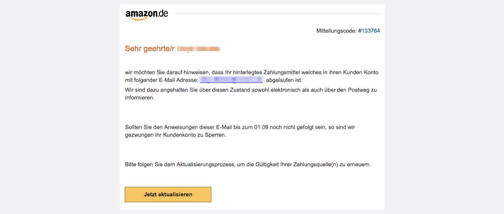 2017-08-31 Amazon Spam Zahlungsmittel abgelaufen