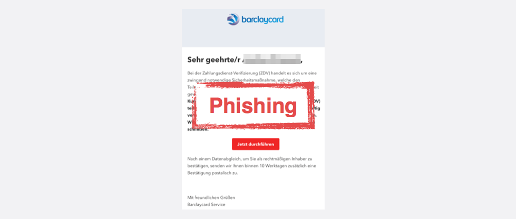2017-09-02 Barclaycard Spam Barclaycard Online-Service- Problem mit Ihrem Konto
