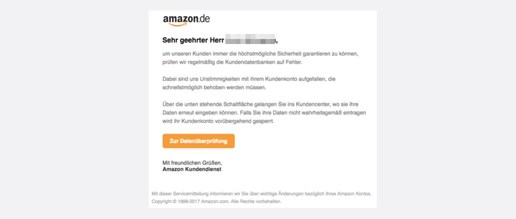 2017-09-03 Amazon Spam Nachricht von Ihrem Kundendienst