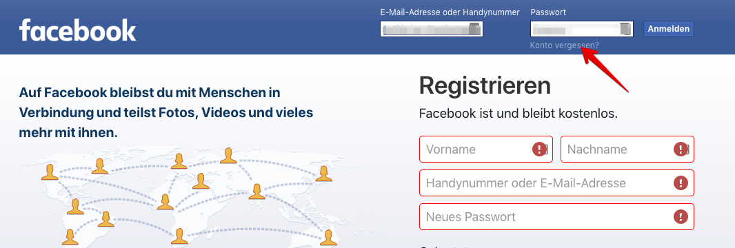 Facebook Zurücksetzen