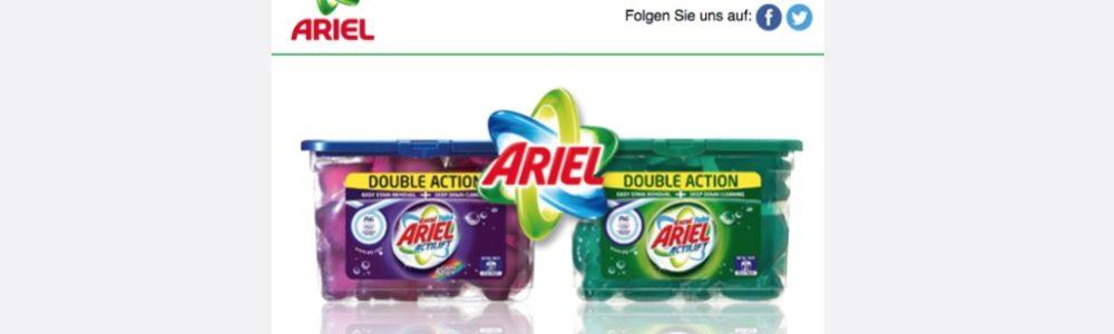E-Mail: Ariel Waschmitteltest führt zu Datensammler