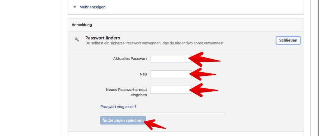 passwort vergessen facebook