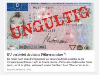 Fake-News EU verbietet deutsche Fuehrerscheine