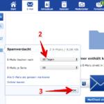 GMX Spam Speicherdauer Webmail Anleitung 0