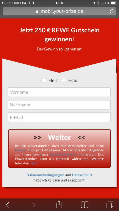 Rewe 250 € Gutschein