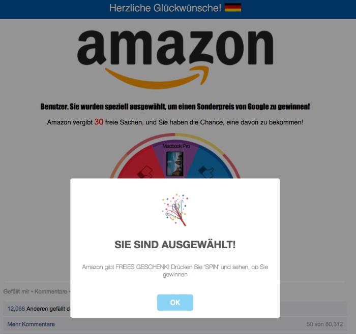 Gewinnspiel Seite im Namen von Amazon