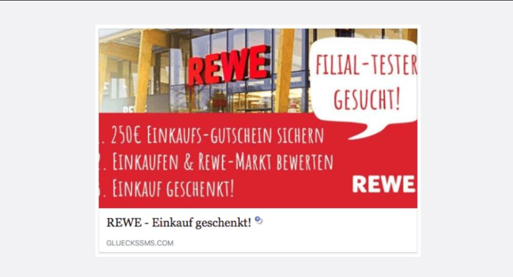 Facebook und WhatsApp: REWE verschenkt 250 EUR Einkaufsgtscheine wegen 45-jähriges Jubiläum – Abofalle? (Update)