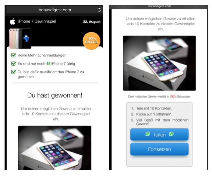 WhatsApp Gewinnspiel iPhone 7 2