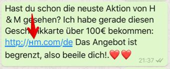 WhatsApp Kettenbrief HM Domain