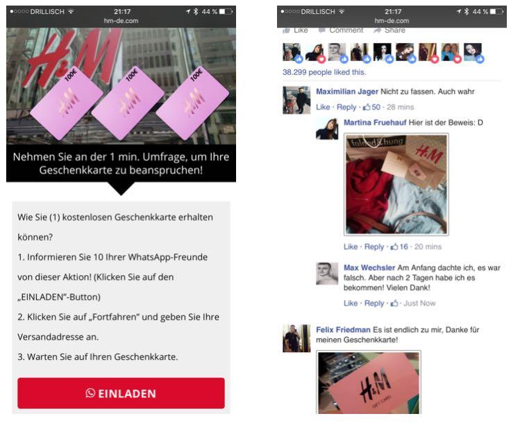 WhatsApp Kettenbrief Teilen Kommentare