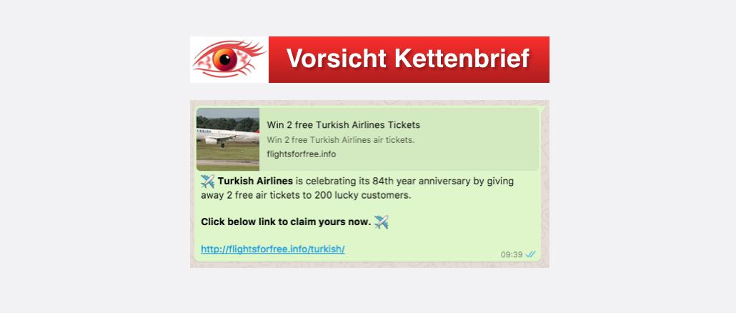 Kostenlose Flugtickets? Nachricht auf Facebook und über WhatsApp
