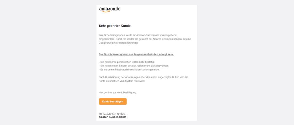 2017-09-08 Amazon Spam Mail Konto deaktiviert