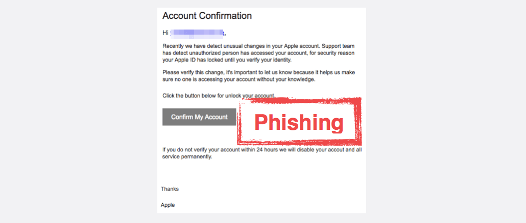 2017-09-08 Apple Spam Apple ID Account Confirmation