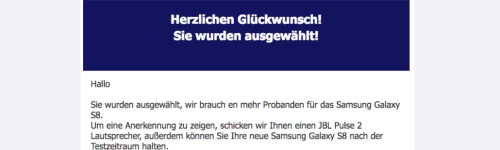 Spam-Warnung: Irreführende E-Mail verspricht Samsung Galaxy S8