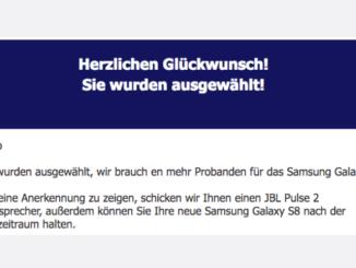 2017-09-08 Spam Mail Fake Samsung Gewinnspiel