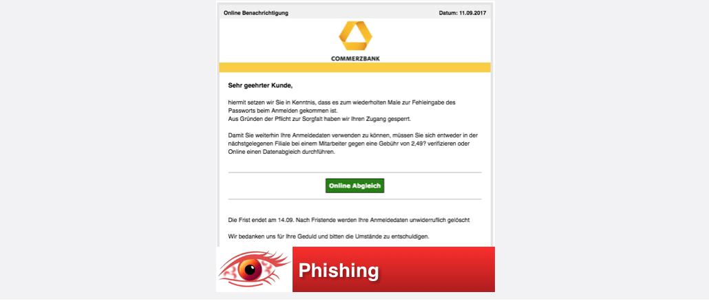 2017-09-11 Commerzbank Phishing Spam-Mail Fehlgeschlagener Anmeldeversuch - Zugang gesperrt