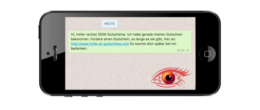 2017-09-13 250 Euro Gutschein Hofer Fake-Gewinnspiel WhatsApp Kettenbrief