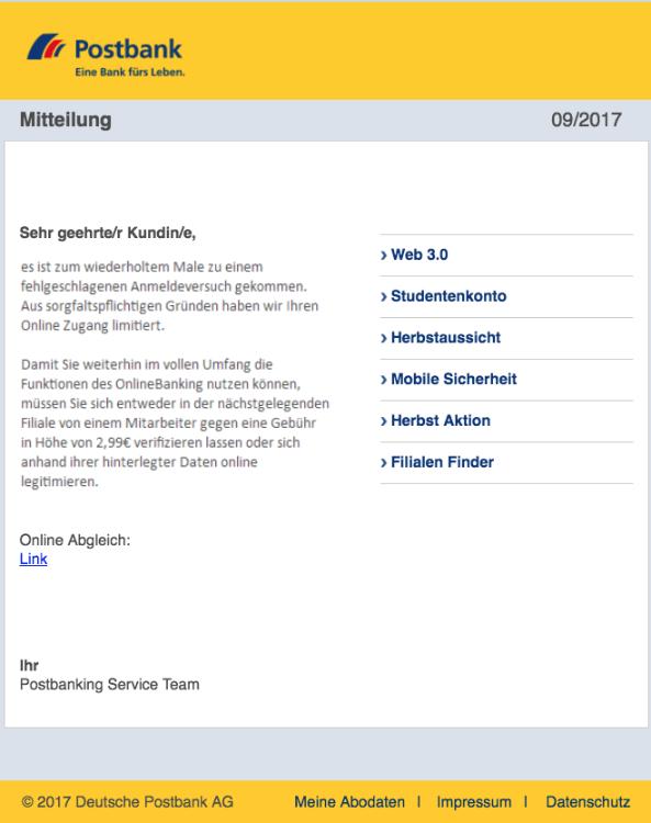2017-09-13 Postbank Spam-Mail Falscheingabe PIN