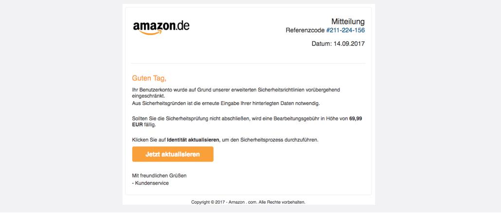 2017-09-14 Amazon Spam Sicherheitsmassnahme erforderlich