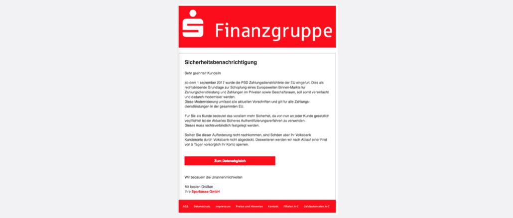 2017-09-14 Sparkasse-Phishing Sparkasse-Sicherheit