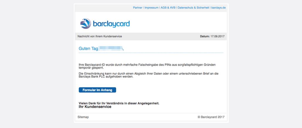 2017-09-18 Barclaycard Spam-Mail Phishing Nachricht von Ihrem Kundenservice