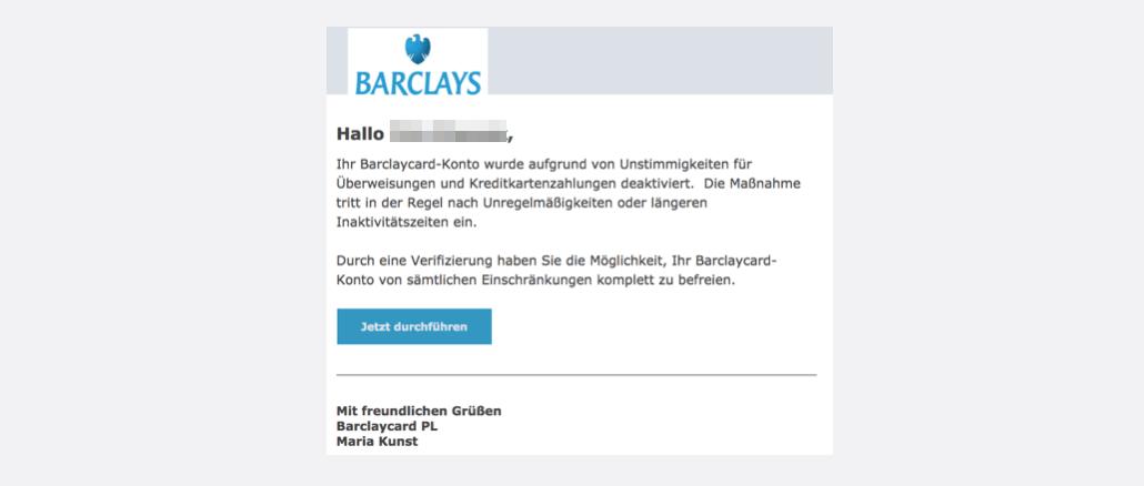 2017-09-18 Barclaycard Spam-Mail Problem mit Ihrem Konto