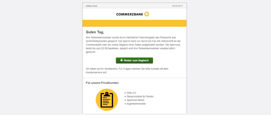 2017-09-21 Commerzbank Spam Teilnehmernummer aufgrund Falscheingabe gesperrt