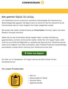 2017-09-21 Commerzbank Spam Teilnehmernummer gesperrt - Handlungsbedarf