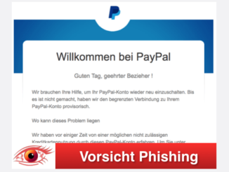2017-09-24 PayPal Spam Willkommen bei PayPal