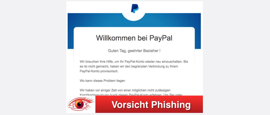 2017-09-24 PayPal Spam Willkommen bei PayPal