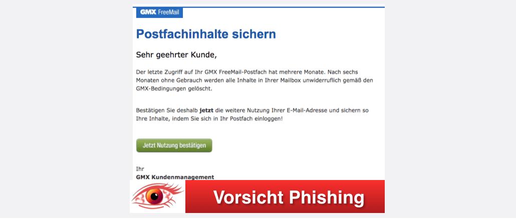 2017-09-25 GMX Spam Phishing Achtung: Die Inhalte Ihres GMX Postfachs werden in Kürze gelöscht