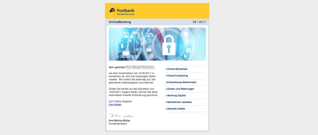 2017-09-25 Postbank Phishing