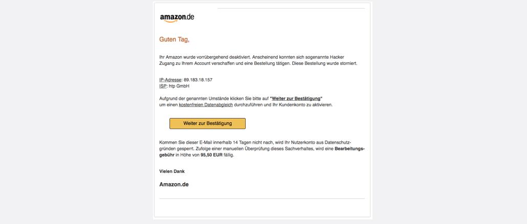 2017-09-28 Amazon Spam Achtung: Ihr Nutzerkonto wurde gesperrt