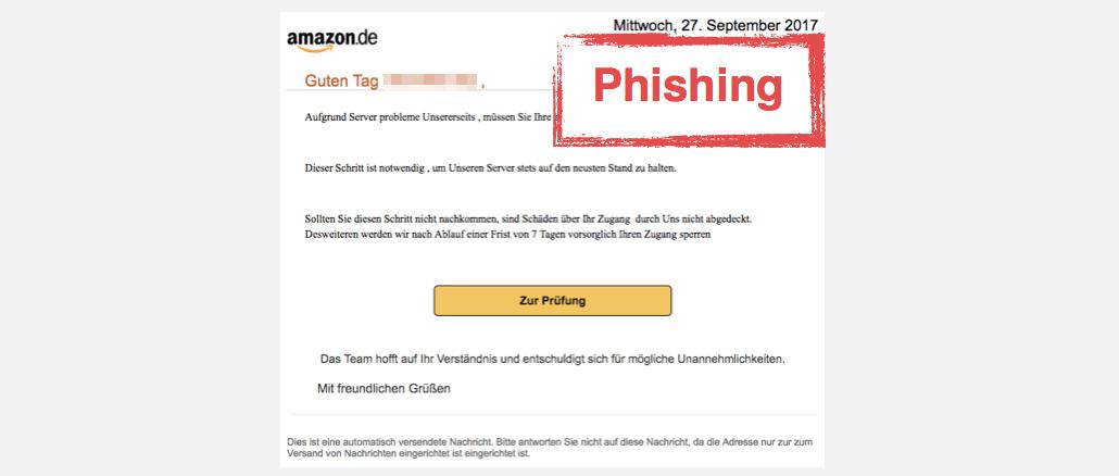 2017-09-28 Amazon Spam aktuell Vorsorgliche Konto Sperrung