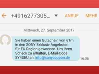 2017-09-28 Sony Spam SMS Gewinn info-sonycoupon.de