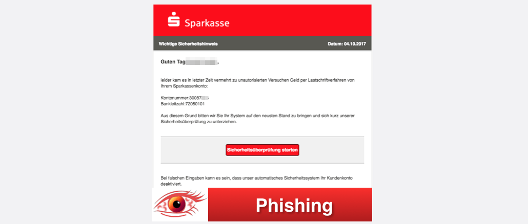 2017-10-05 Sparkasse Spam Wichtige Sicherheitshinweis