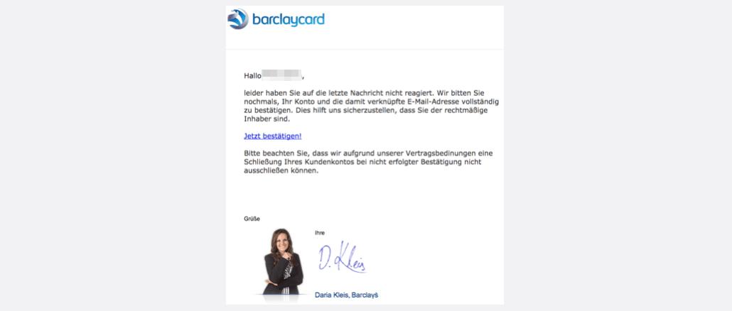 2017-10-08 Barclaycard Spam Barclaycard Online-Service: Problem mit Ihrem Konto