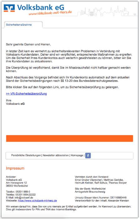2018-02-16 Volksbank Spam Phishing Mail Ihr Bank-Konto wird eingeschränkt