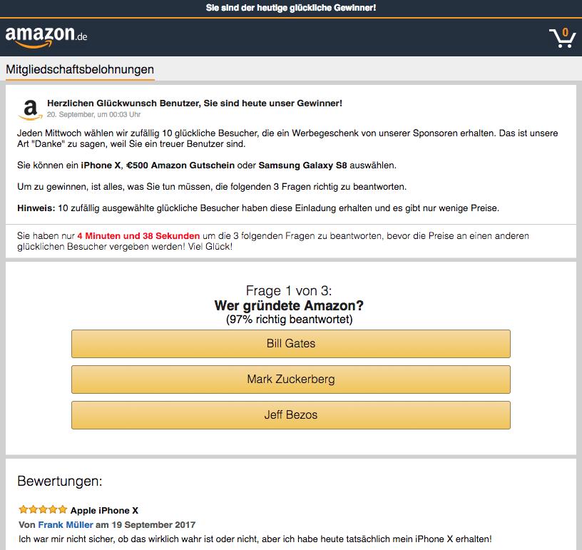 Amazon Gewinnspiel Fake