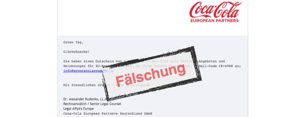 Vorsicht: SMS / E-Mail von Coca Cola mit Code ist eine Fälschung