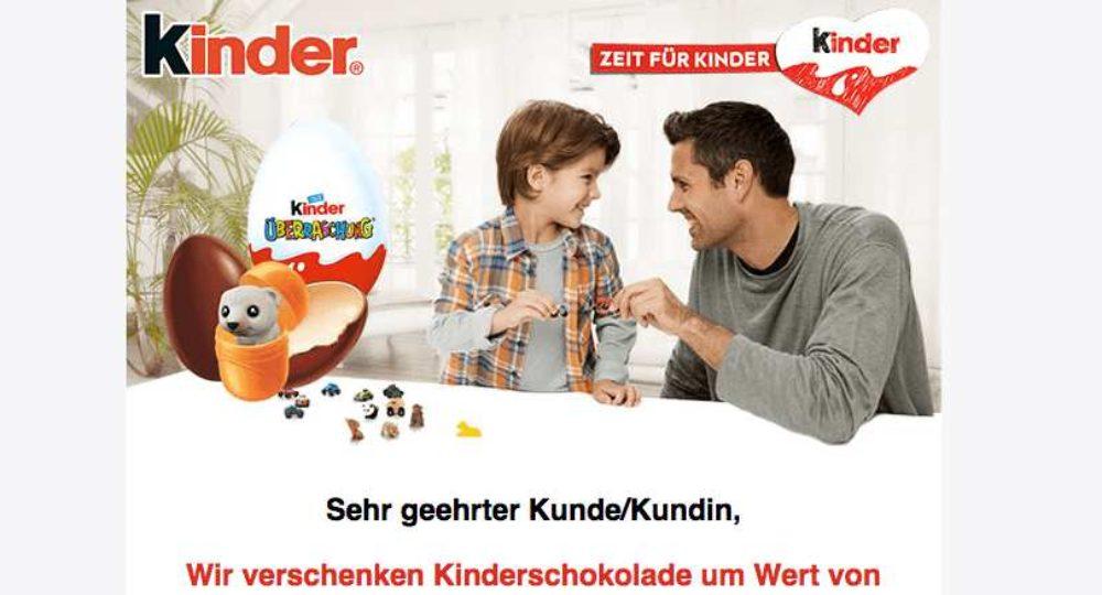 Kinderschokolade im Wert von 200 €: Gewinnspiel ist nicht von Ferrero