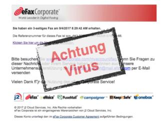 Nachricht über Fax enthält Virus