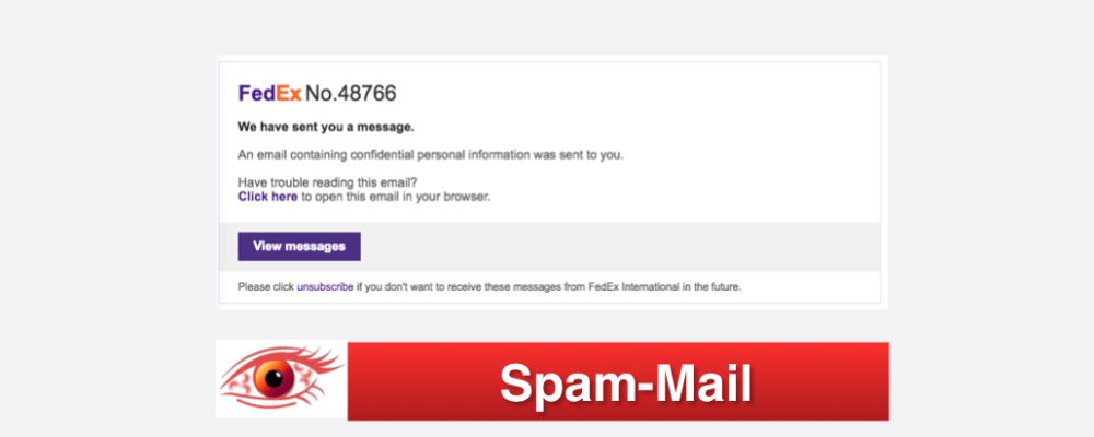 Vorsicht Spam E-Mail: 0rder Confirmation – FedEx Express