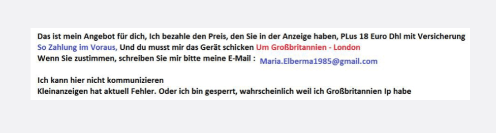 eBay Kleinanzeigen Nachricht als Bild Betrug Scam
