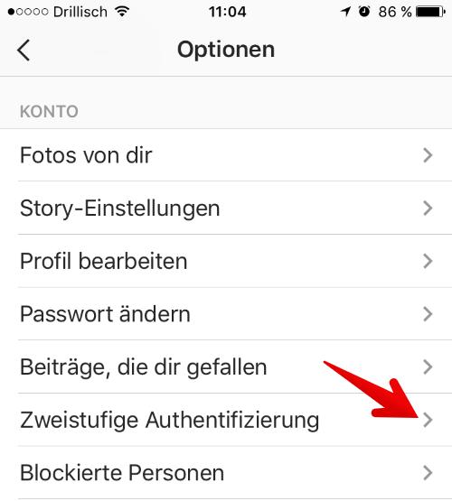 zweistufige authentifizierung instagram