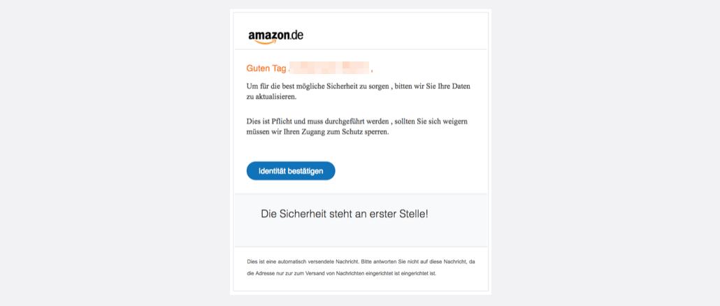 2017-10-11 Amazon Spam Mail Ihr Konto wird zur Sicherheit deaktiviert