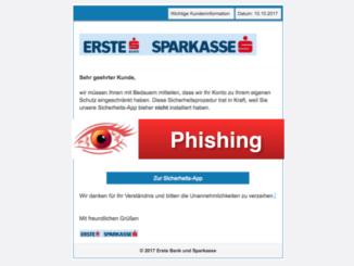 2017-10-13 Erste Bank Sparkasse Phishing Wichtige Kundeninformation